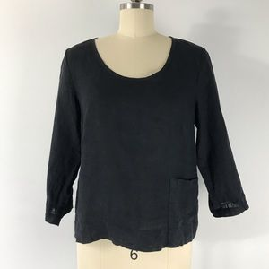 Flax Black Linen Petite Front Pocket Top